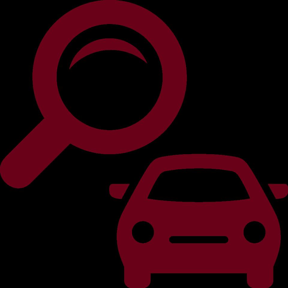 車と虫眼鏡のアイコン